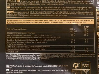 4 Formaggi Italiani - Nutrition facts - fr