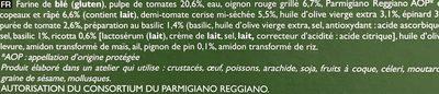 Pizza N°3 - Légumes, Pesto, Parmesano Reggiano - Ingrédients - fr