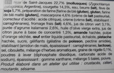2 Lingots aux noix de Saint-Jacques* - surgelés - Ingredients - fr