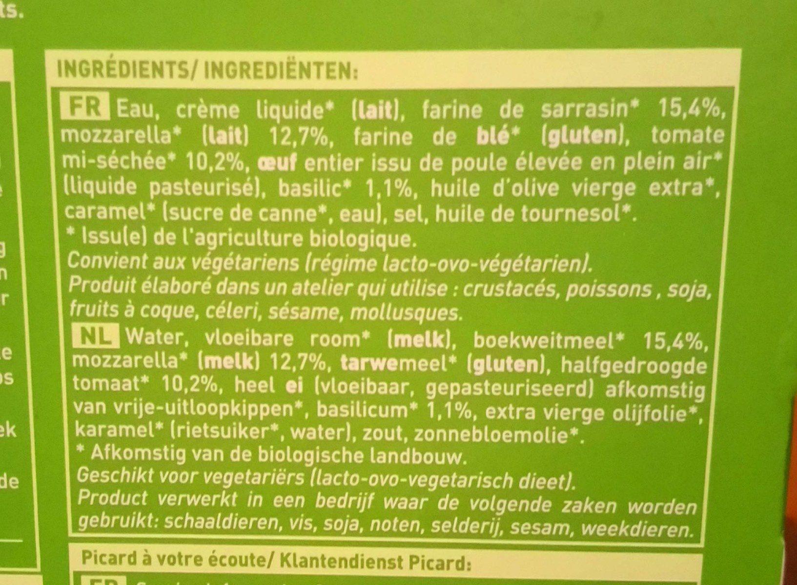 Galette mozzarella tomate basilic - Ingredients - fr