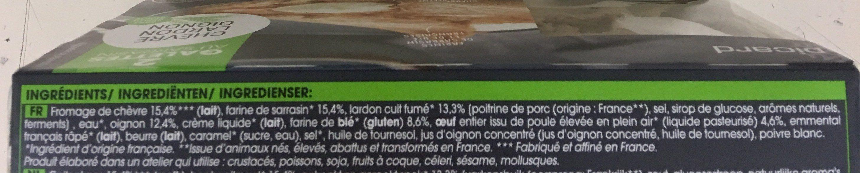 2 galettes chèvre-lardon-oignon - Ingrédients - fr