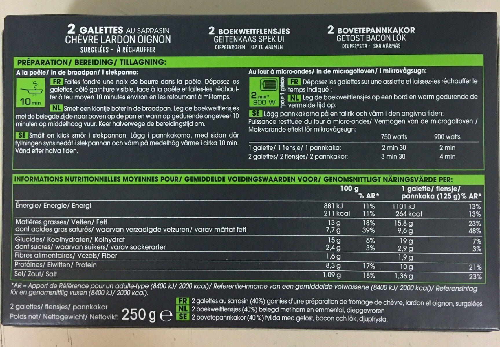 2 galettes chèvre-lardon-oignon - Informations nutritionnelles - fr