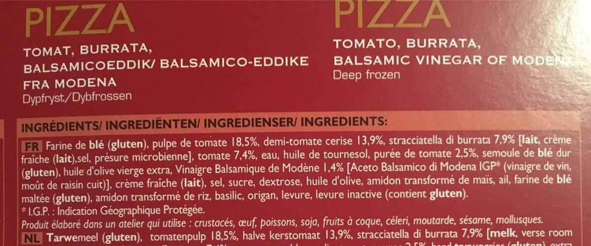 Pizza N°7 - Tomate, Burrata, Vinaigre Balsamique de Modène - Ingrediënten - fr