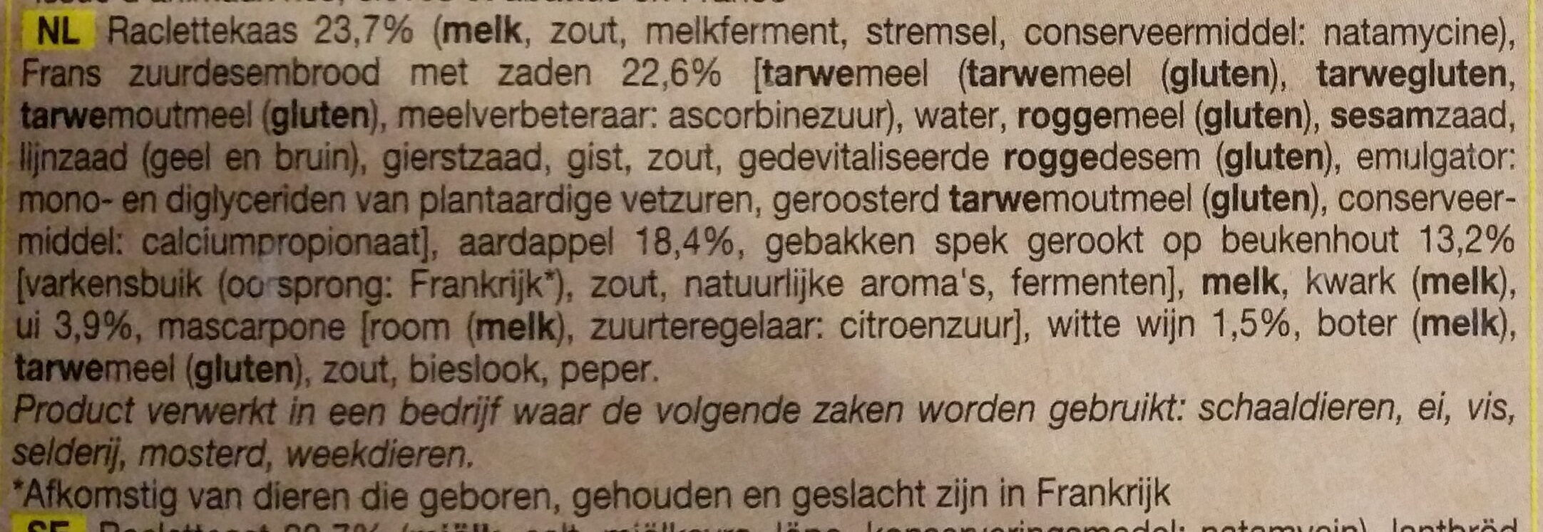 Tartine a la montagnarde - Ingrediënten - nl