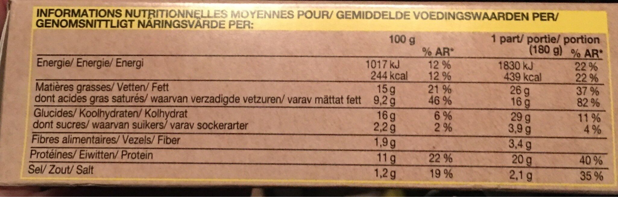 Tartine a la montagnarde - Voedingswaarden - fr