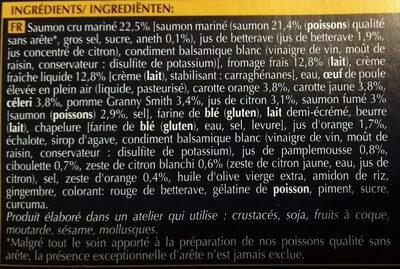 2 Entrées au saumon Gravlax - Ingrédients - fr