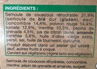 Taboule Menthe Grenade Amande - Ingredients