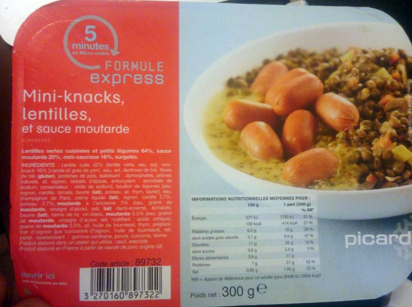 Mini Knacks, Lentilles et Sauce Moutarde - Produit