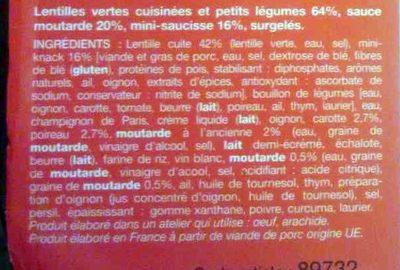 Mini Knacks, Lentilles et Sauce Moutarde - Ingrédients