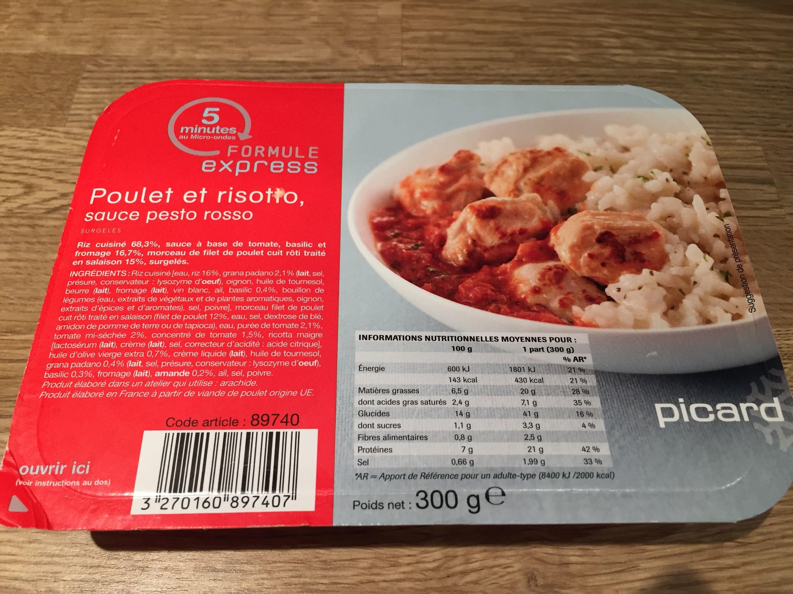 Poulet et Risotto, Sauce Pesto Rosso - Produit