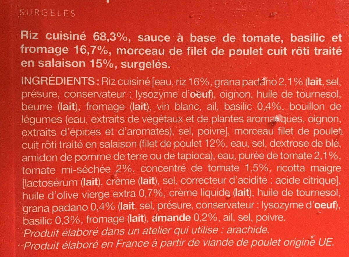 Poulet et Risotto, Sauce Pesto Rosso - Ingredienti - fr
