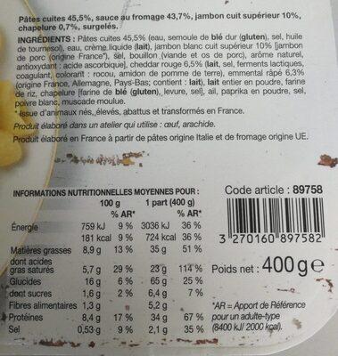 Mac & Cheese au Jambon - Informations nutritionnelles - fr