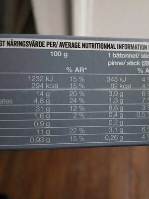 Bâtonnets panés à la mozzarella - Valori nutrizionali