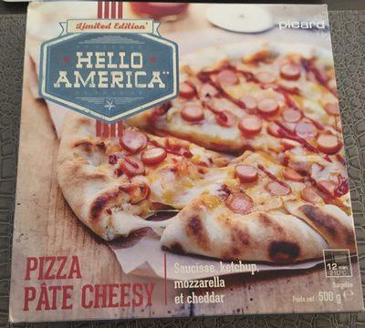 Hello America Pizza Pâte Cheesy, Saucissen Ketchup, Mozzarella et Cheddar - Product
