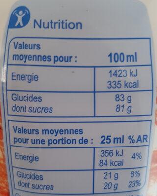 Sirop Grenadine - Nutrition facts - fr