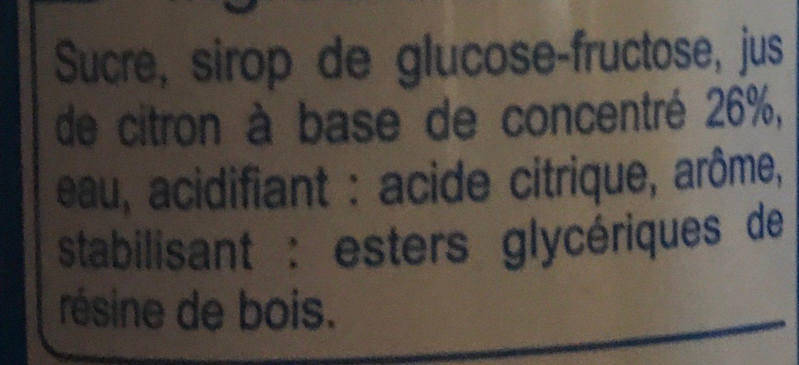 Sirop de citron à diluer - Ingredients