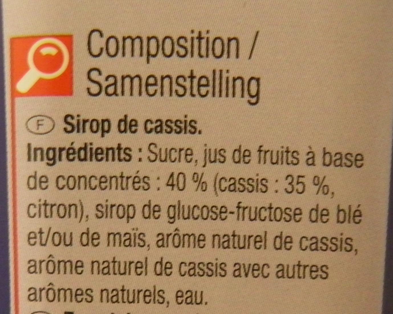 Sirop de cassis - Ingredients - fr