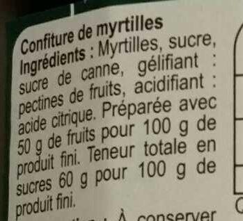 Confiture Myrtille - Ingrédients