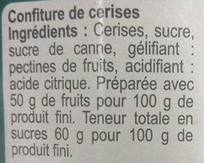 Confiture Cerise - Ingrédients