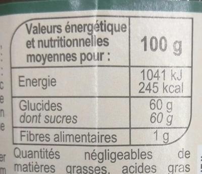 Confiture Cerise - Informations nutritionnelles