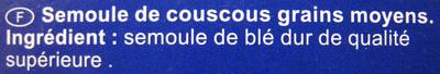 Couscous, Grain Moyen - Ingredients