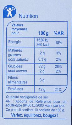 Couscous grain moyen - Nutrition facts - fr