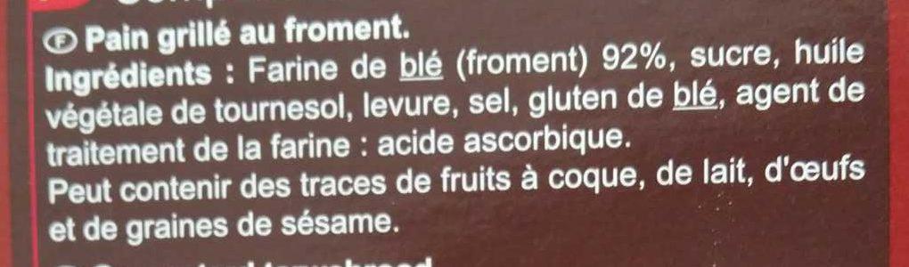 Pain grillé, grandes tranches généreuses - Ingredients