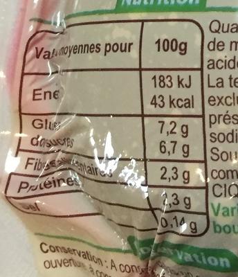 Betteraves rouges entières épluchées, cuites sous vide - Nutrition facts