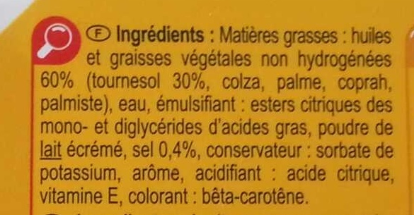 Tournesol tartine & cuisson - Ingredients