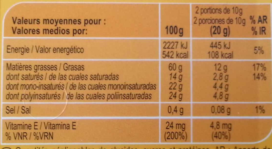 Tournesol tartine & cuisson - Nutrition facts