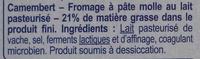 Camembert (21 % MG) Onctueux & Crémeux - Ingrédients - fr