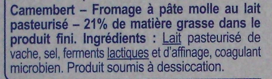 Camembert (21 % MG) Onctueux & Crémeux - Ingrédients