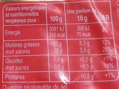 Beurre doux lait origine bretagne - Voedingswaarden - fr