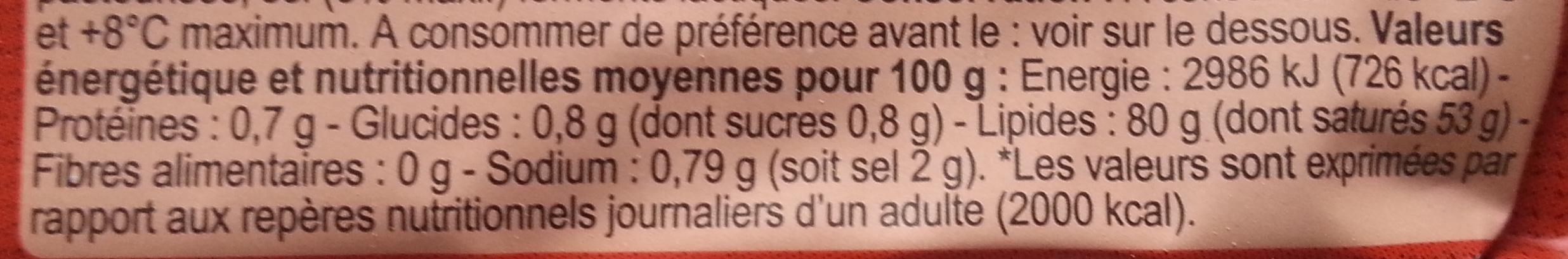 Beurre moulé demi-selbretagne - Nutrition facts - fr
