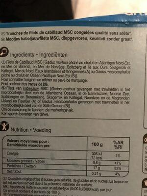 Filets De Cabillaud Surgelés - Ingrédients - fr