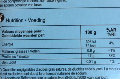 Filets De Cabillaud Surgelés - Informations nutritionnelles - fr