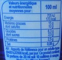 Crème fraîche épaisse légère - Informations nutritionnelles