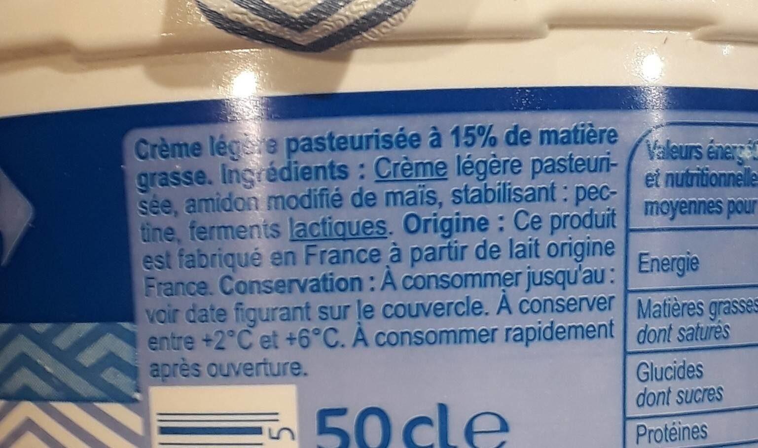 Crème fraîche épaisse légère - Ingrédients
