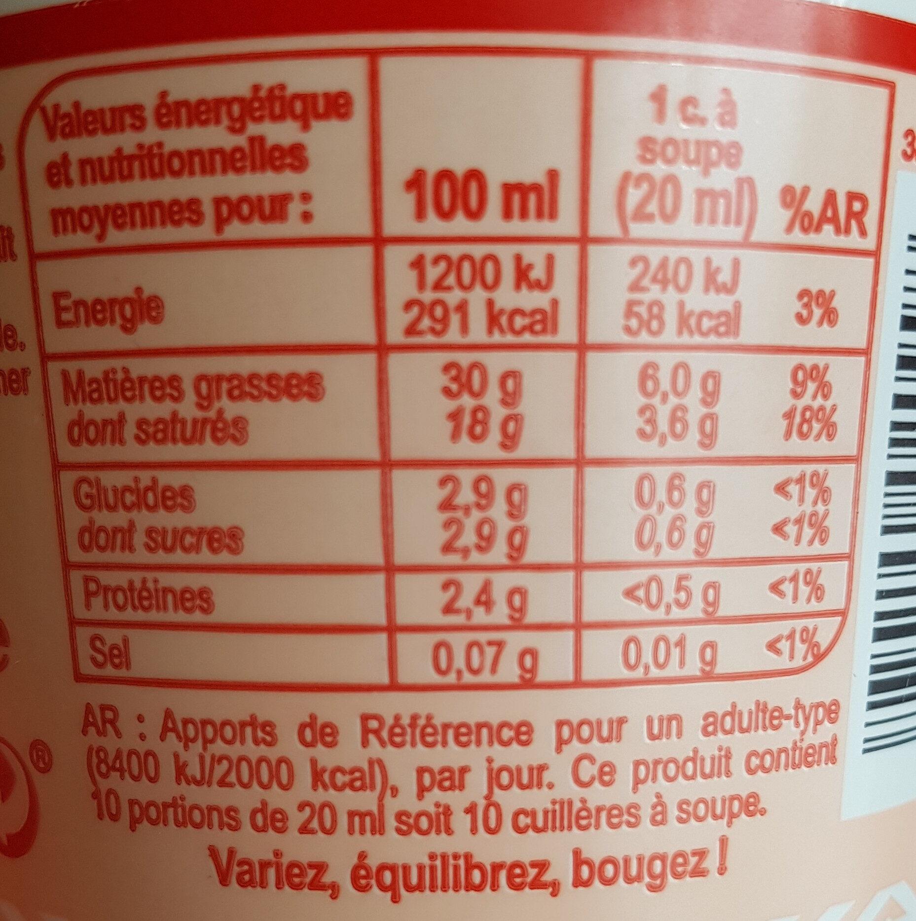 Crème fraîche épaisseEntière - Nutrition facts - fr