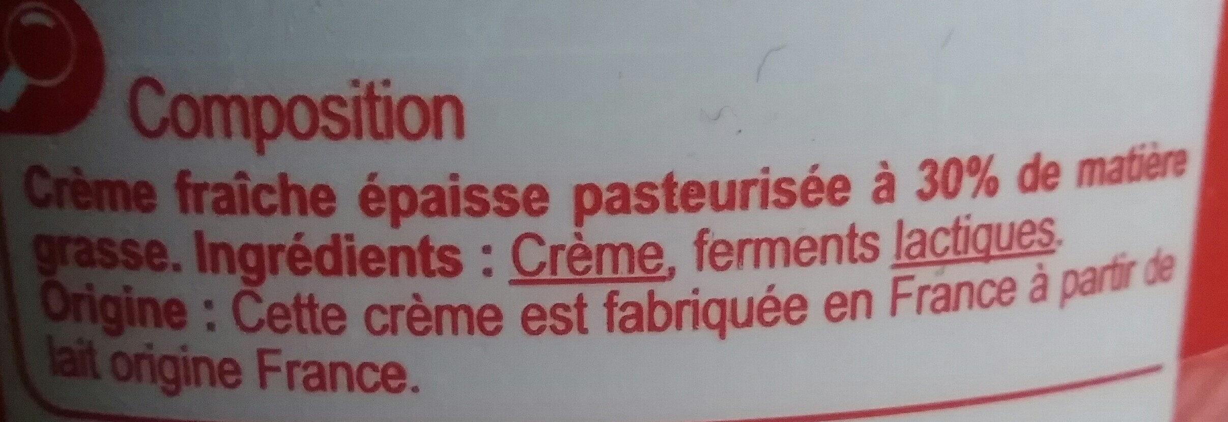 Crème fraîche épaisse Entière - Ingrediënten - fr