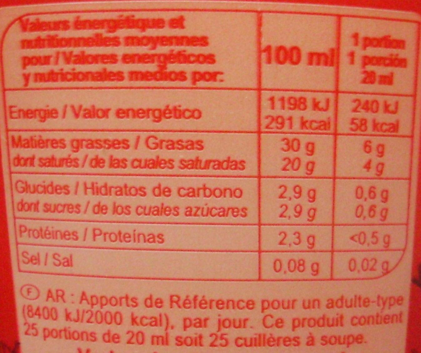 Crème fraîche épaisse Entière - Voedingswaarden - fr