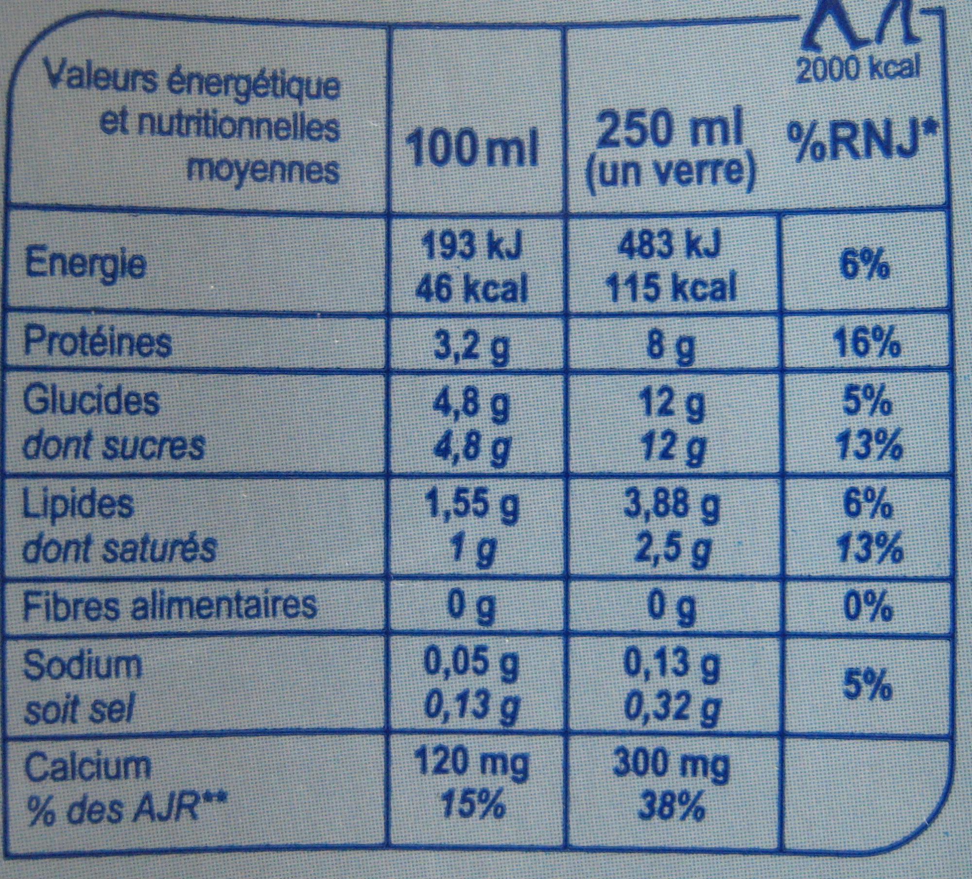 Lait de montagne (demi-écrémé) - Nutrition facts - fr