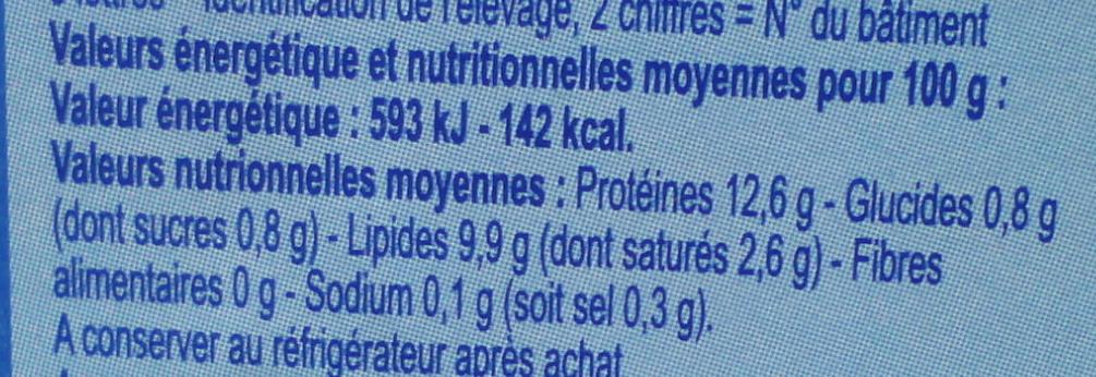 OEufs de poules Datés du jour de ponte - Nutrition facts - fr