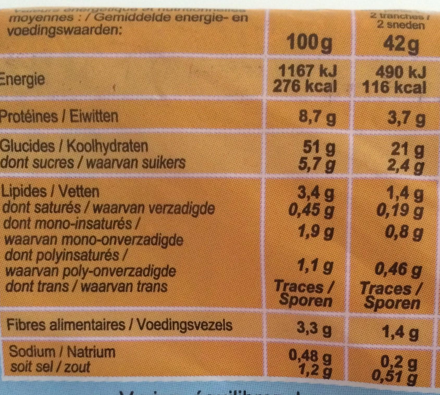 Pain de mie  Extra Moelleux - Informations nutritionnelles - fr