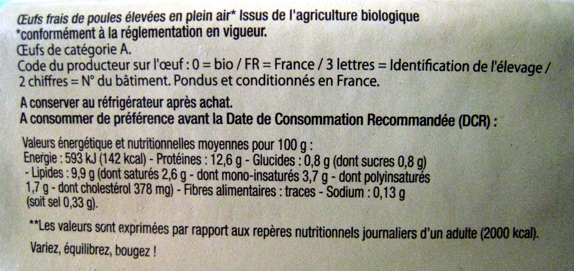 Oeufs de poule élevées en plein air - Nutrition facts - fr