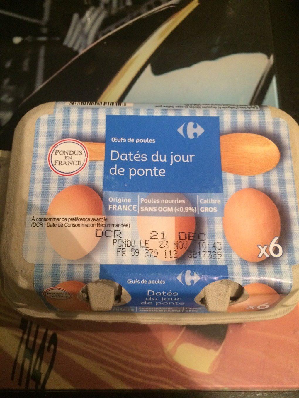 Oeufs de poules Datés du jour de ponte. - Nutrition facts - fr