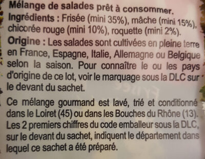Salade prête à consommer, Mélange Gourmand (4 portions) - Ingrédients - fr