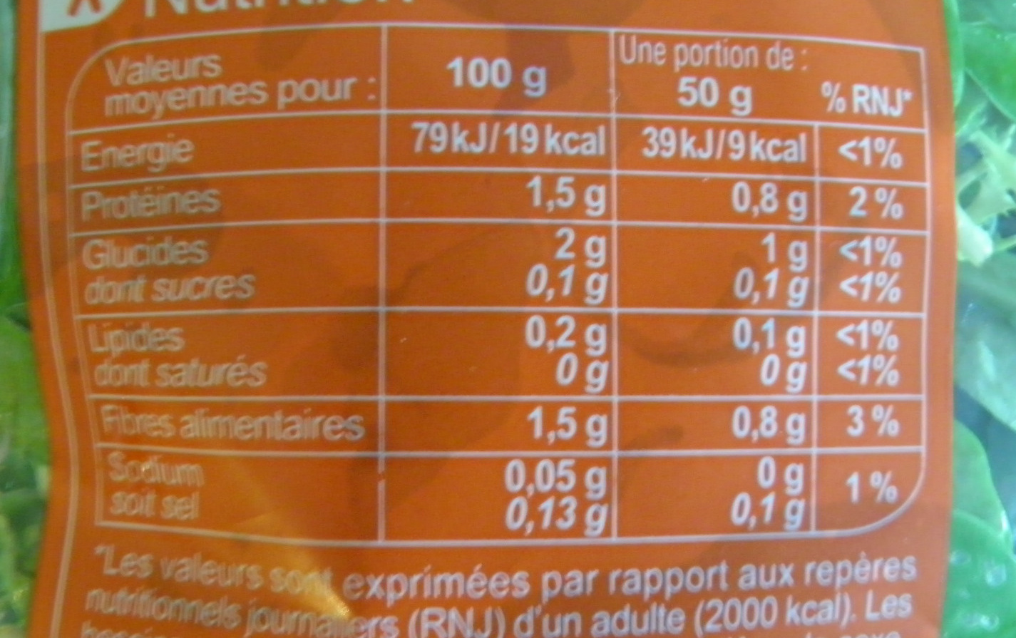 Salade prête à consommer, Mélange Gourmand (4 portions) - Informations nutritionnelles