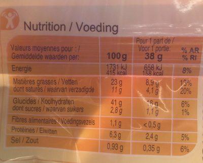 Pâte brisée - Informations nutritionnelles