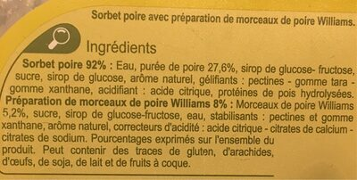 Sorbet Poire fraîcheur Carrefour - Ingrediënten